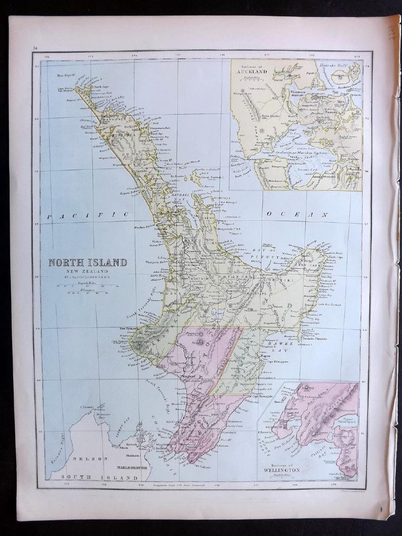 Bryce, James 1881 Map of New Zealand North Island