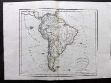Delamarche Felix 1829 Map of South America Continent