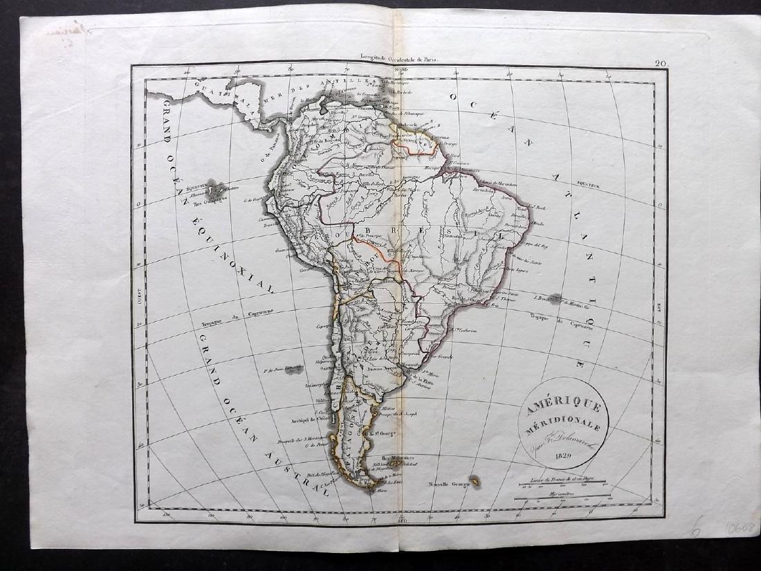 Delamarche, Felix 1829 Map of South America Continent
