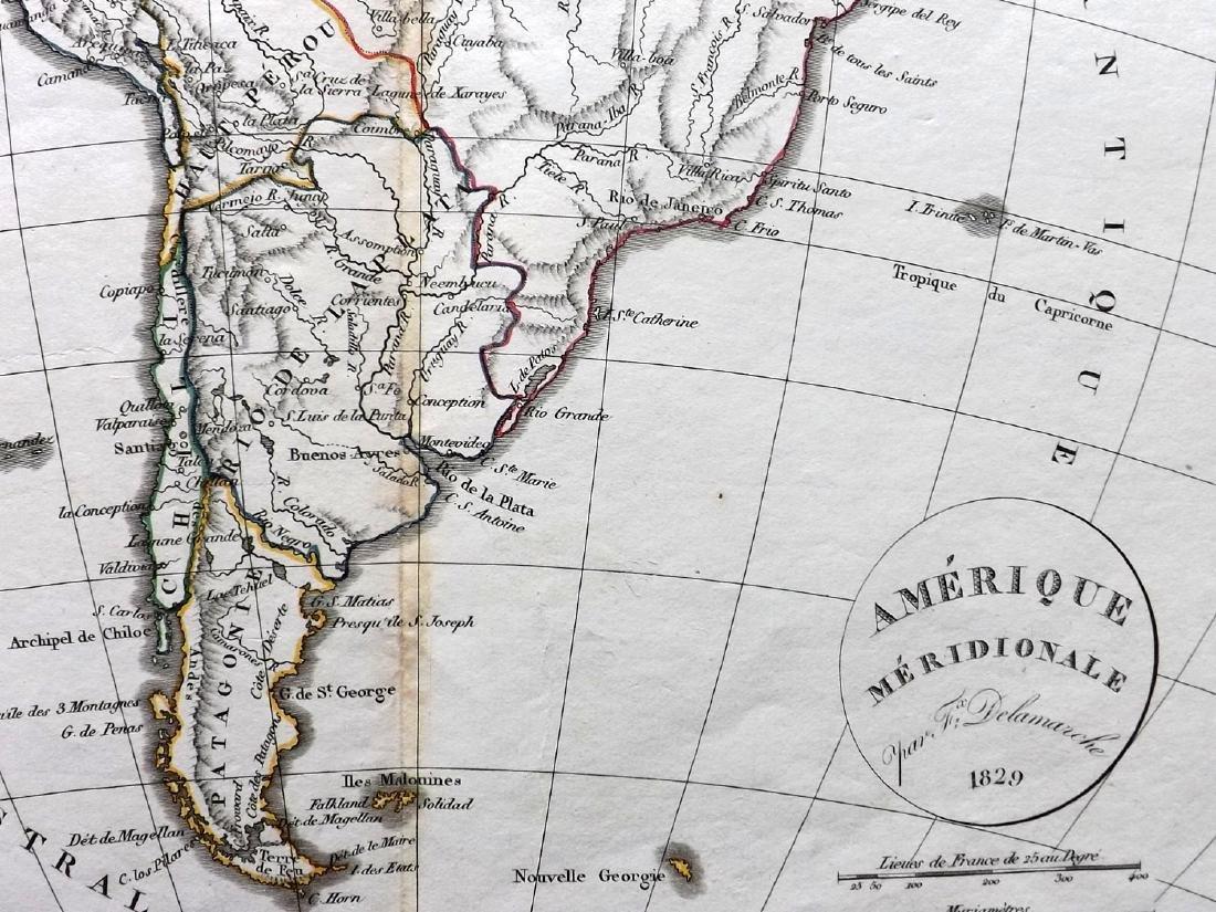 Delamarche, Felix 1829 Map of South America Continent - 2