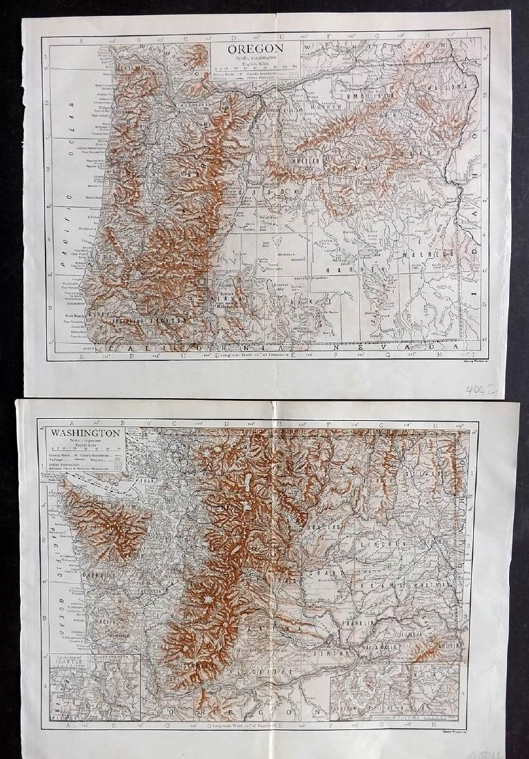 USA 1911 Lot of 12 State Maps incl Texas & California - 2
