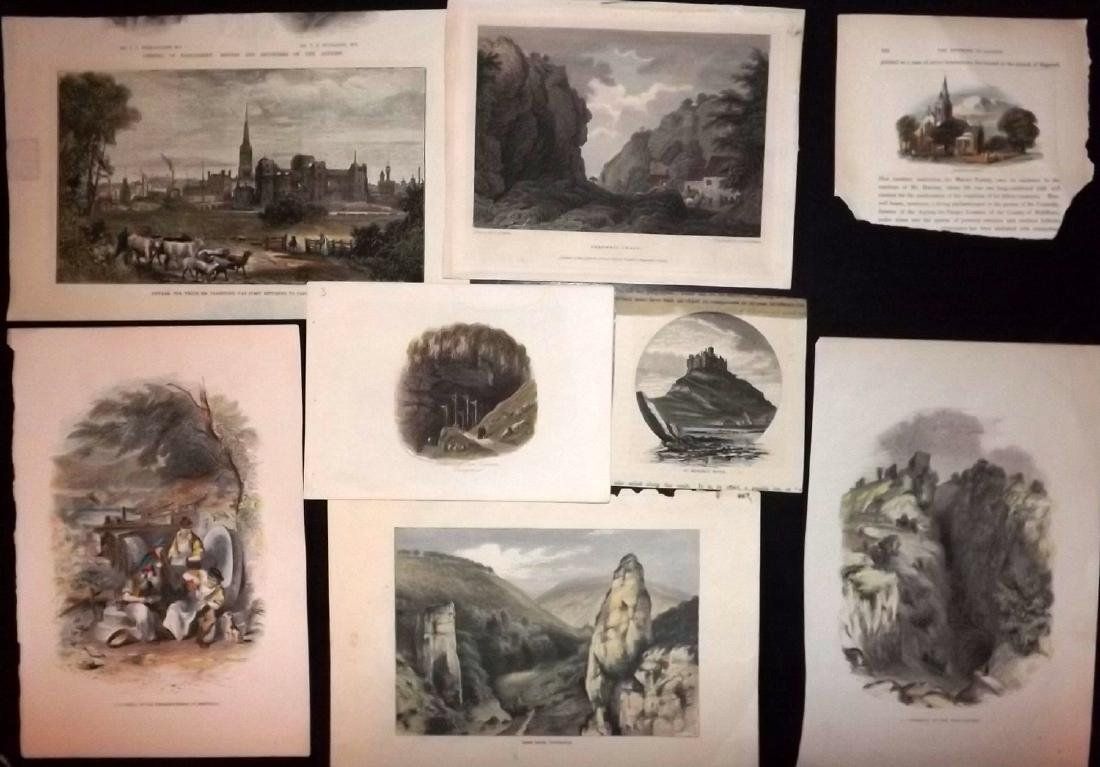 Hand Coloured British Views 19th Cent Lot of 8