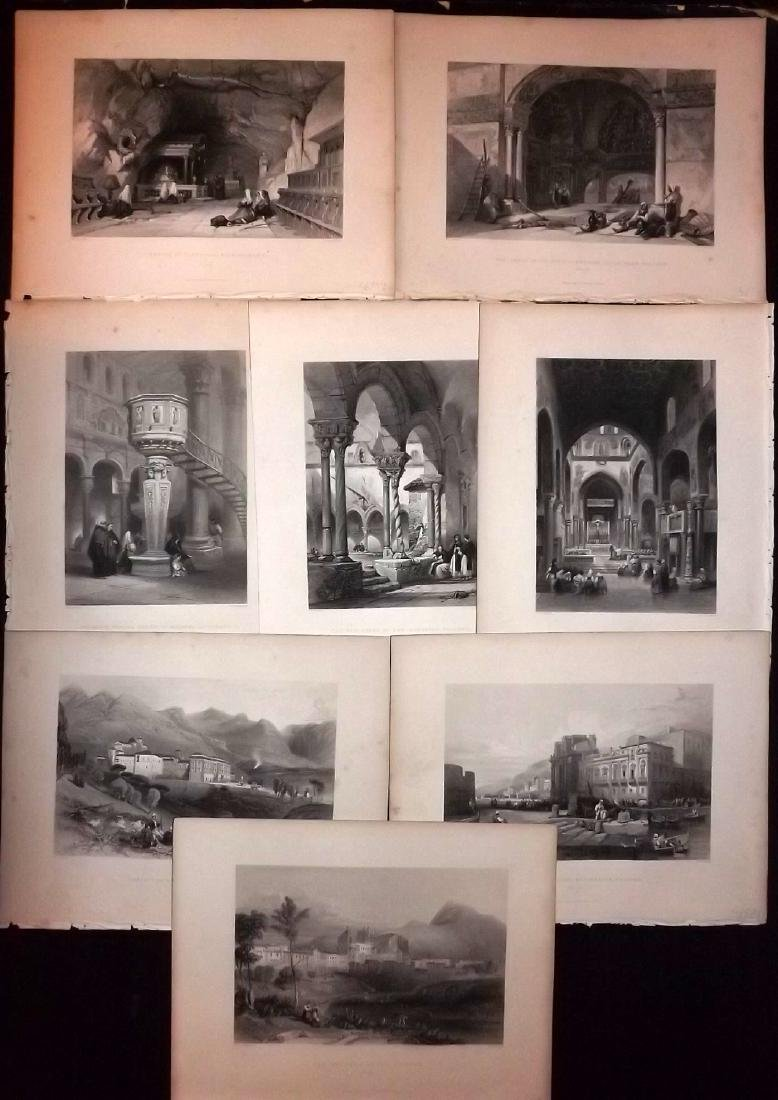 Italy Sicily 1840 Lot of 8 Prints from Wright's Med.