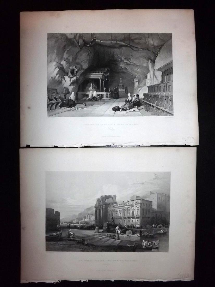 Italy Sicily 1840 Lot of 8 Prints from Wright's Med. - 2