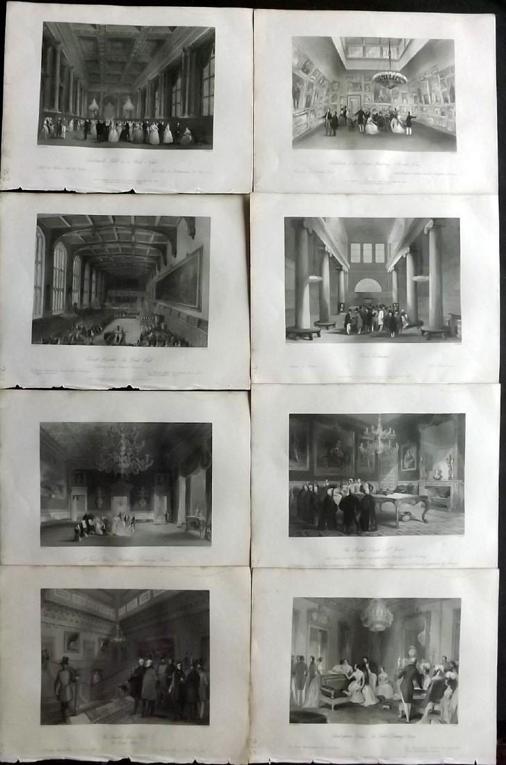 London Interiors 1844 Lot of 8 Steel Engravings