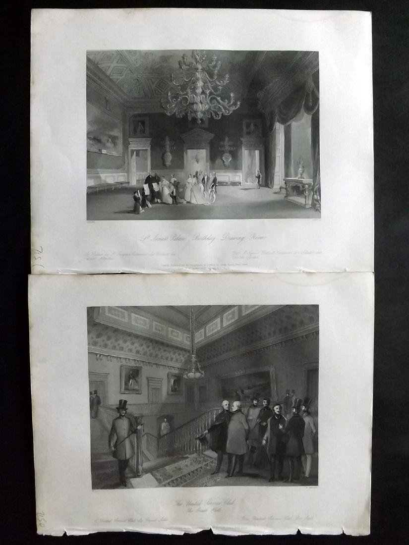 London Interiors 1844 Lot of 8 Steel Engravings - 2