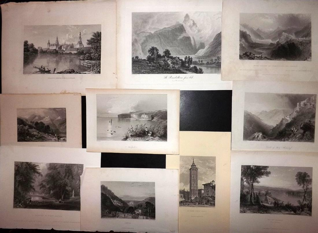 World Views 19th Cent Lot of 10 Steel Engravings