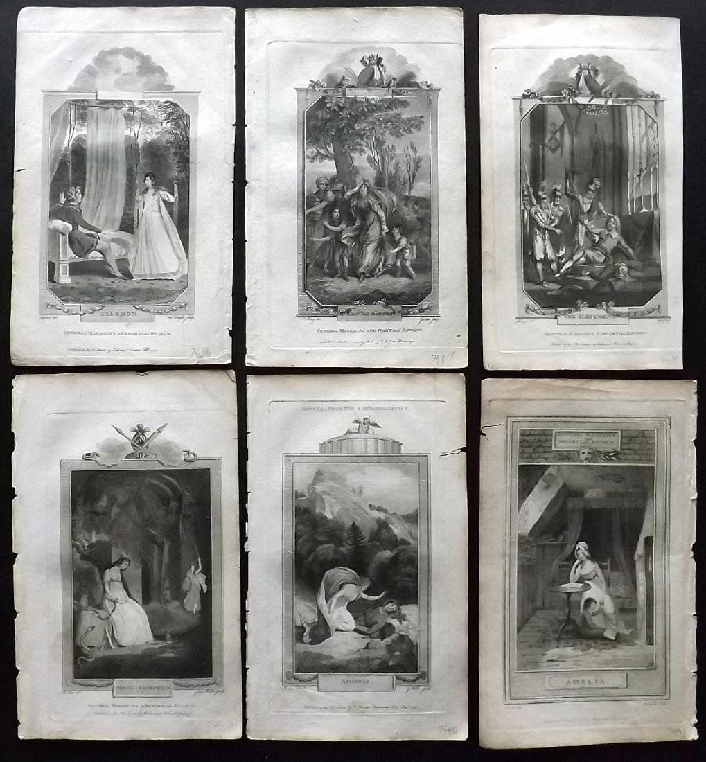 General Magazine 1792 Lot of 6 Classical Engravings