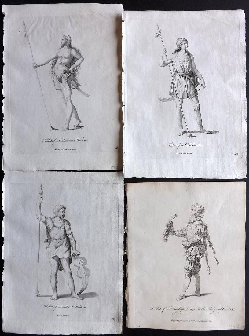 Jefferys, Thomas 1772 Lot of 4 British Costume Prints