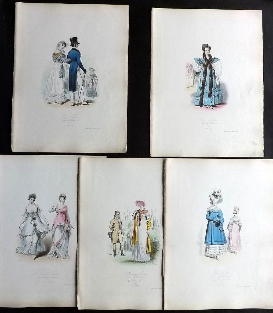 Pauquet, Hippolyte 1868 Lot of 5 Regency Fashion Plates