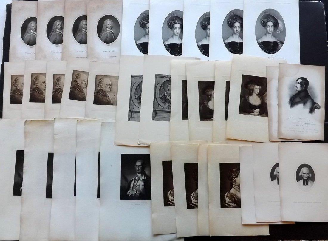 Portraits 19th Century Lot of 50 European, Duplicated