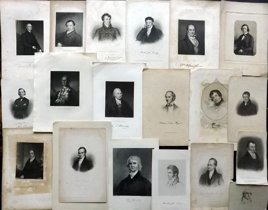 Portraits 19th Century. Lot of 18 Engravings. American