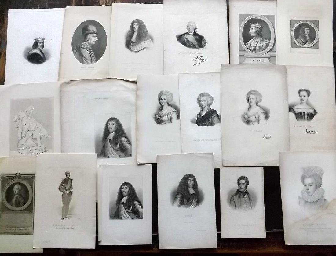 Portraits 19th Century. Lot of 20. French