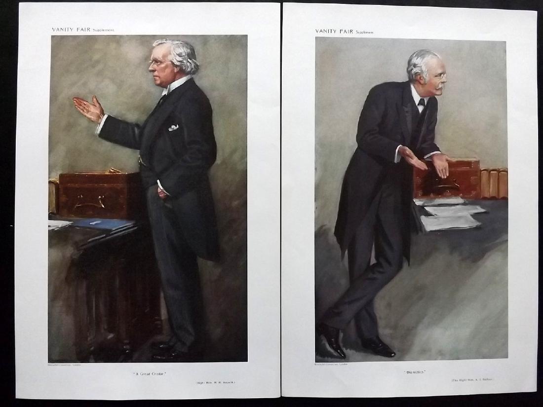 Vanity Fair Prints 1910 Pair of PM's. Asquith & Balfour
