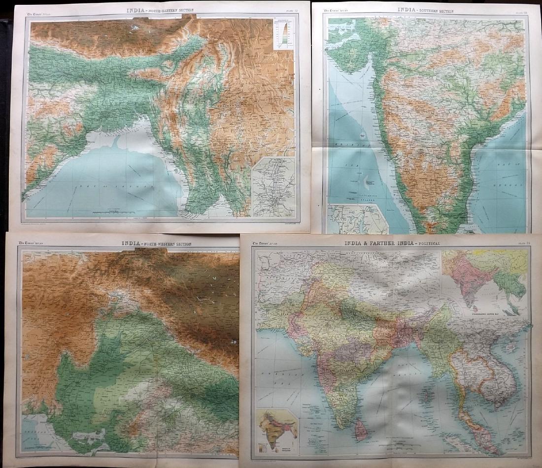 Bartholomew, John 1922 Lot of 4 Maps of India