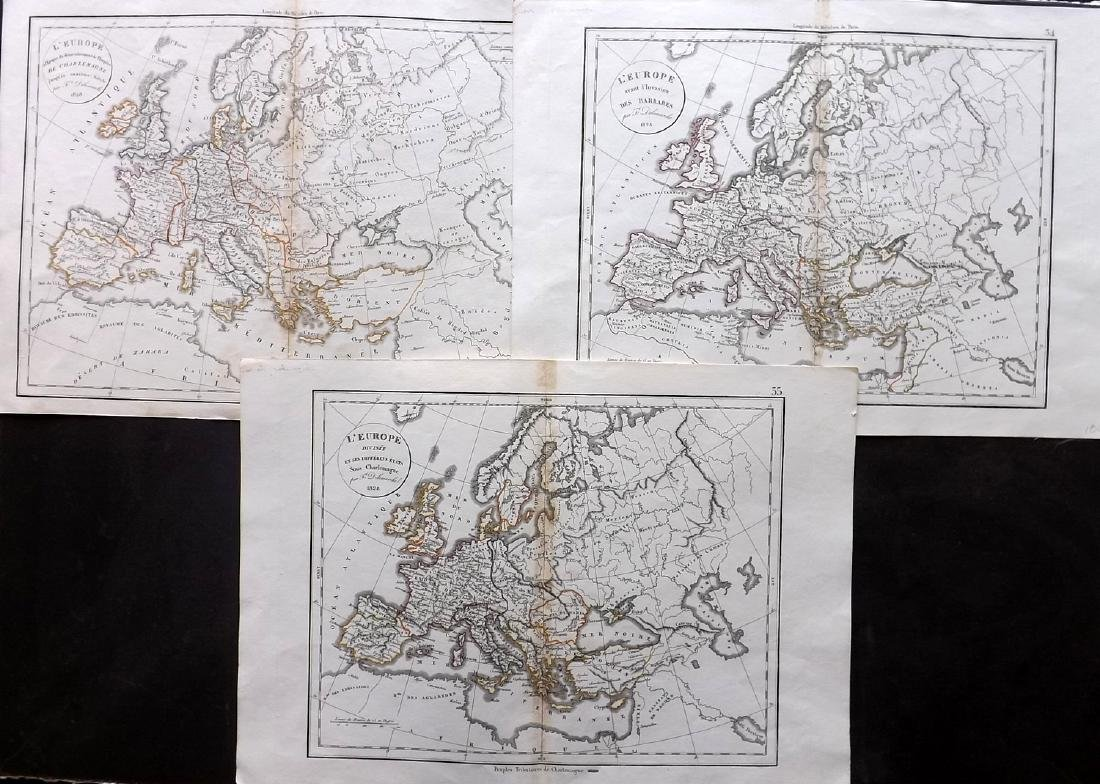 Delamarche, Felix 1829 Group of 3 Maps of Europe
