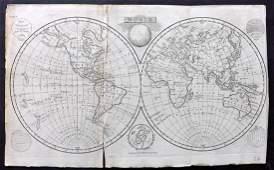 Walker, John 1795 Map of The World. Twin Hemispheres