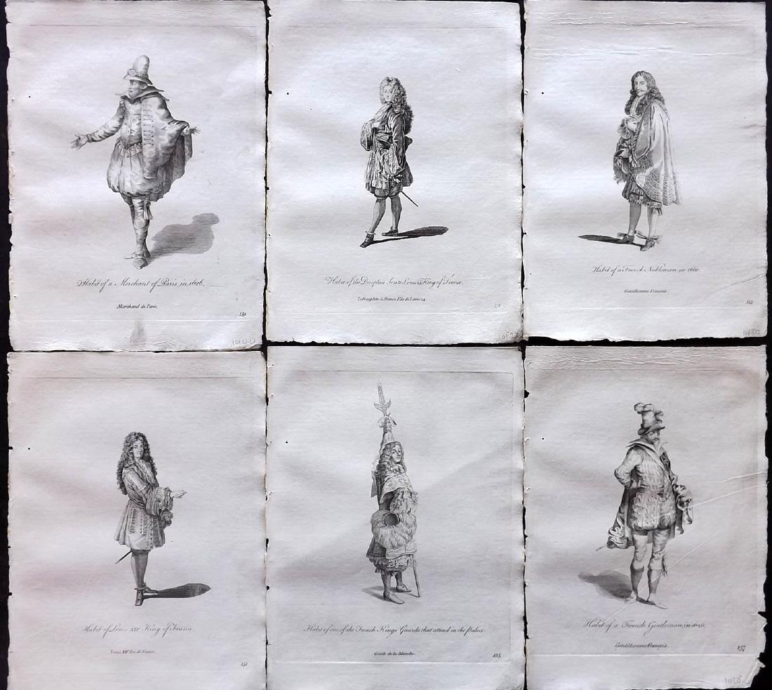 Jefferys, Thomas 1772 Lot of 6 French Costume Prints