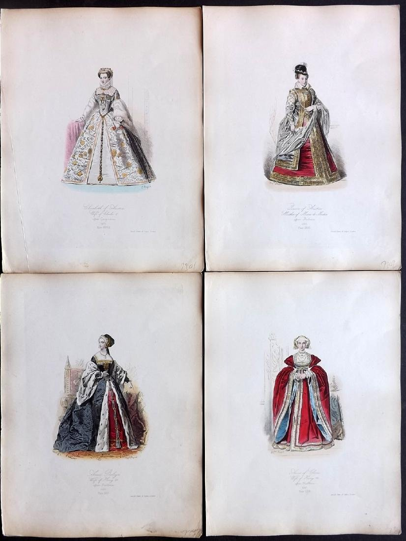 Pauquet, Hippolyte 1868 Lot of 4 Hand Col Costume