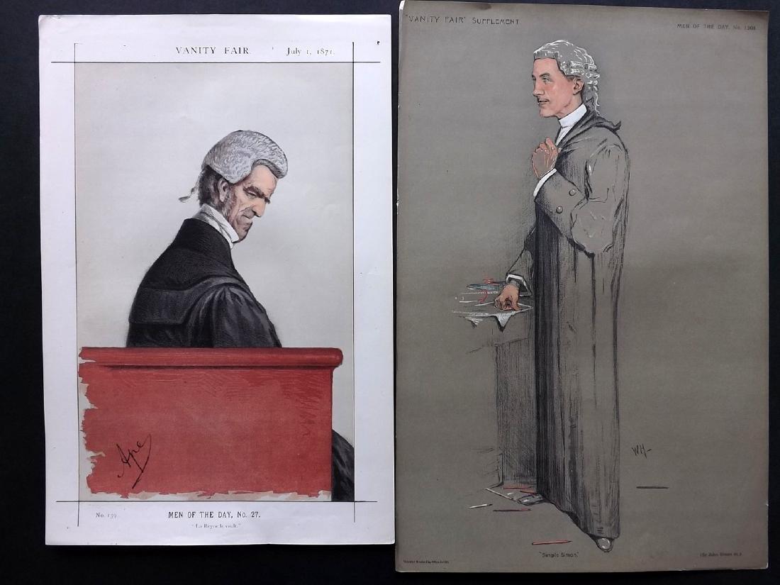 Vanity Fair Prints 1871-1911 Pair of Legal Wigged