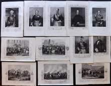 Crimean War 1858 Lot of 12 Military Prints  Portraits