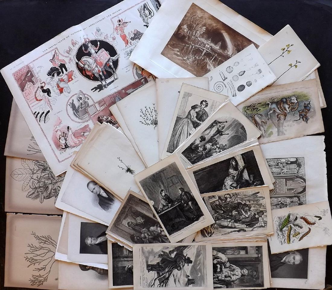 Mixed Prints C1790-1890 Lot of 60 Prints