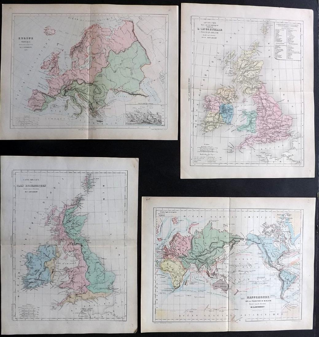 Cortambert, Eugene 1874 Lot of 4 Maps. UK, World Europe