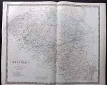 Philip George 1856 LG Hand Col Map Belgium
