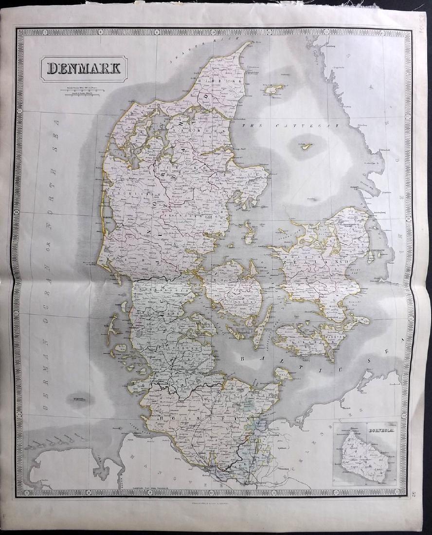Philip, George 1856 LG Hand Col Map. Denmark