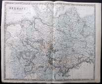 Philip George 1856 LG Hand Col Map Germany North Part
