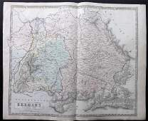 Philip George 1856 LG Hand Col Map Germany South Part