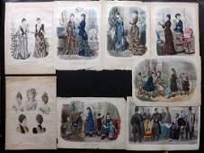 Fashion Plates C1870-90 Lot of 8 LG Hand Colored Prints