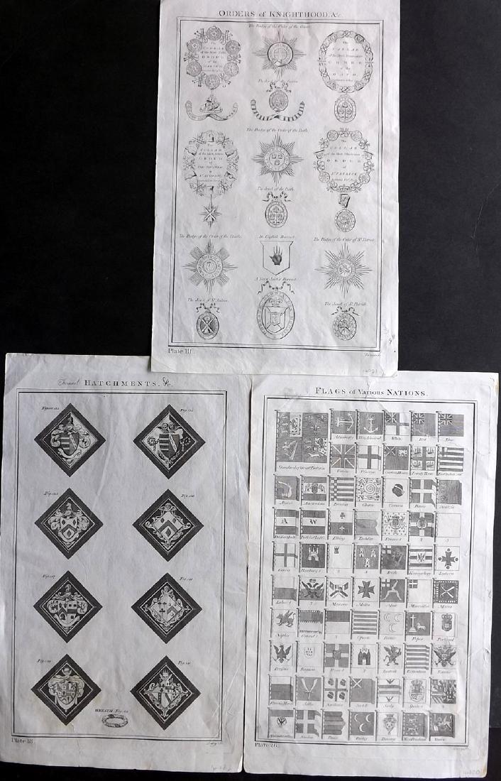 Howard, George 1796 Group of 3 Prints. Flags, Orders