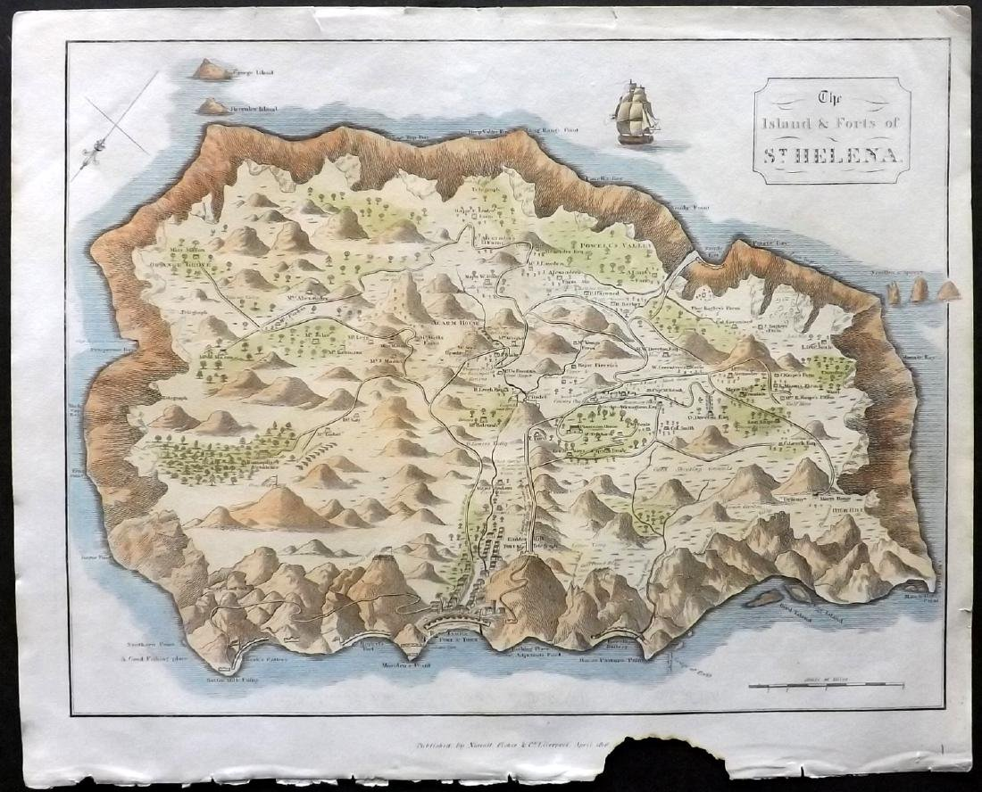 Anon 1816 Hand Col Map. Island of St. Helena, Africa