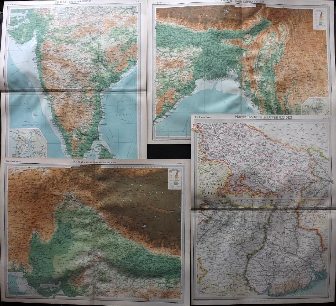 Bartholomew, John 1922 Lot of 4 Large Maps of India