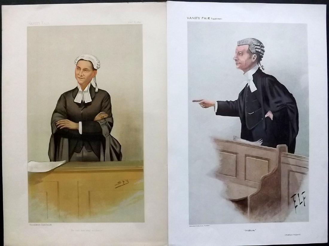 Vanity Fair Prints 1892-1910 Pair of Legal Wigged