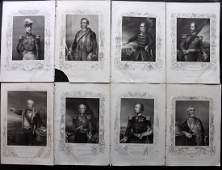 Crimean War 1858 Lot of 8 Military Portrait Prints