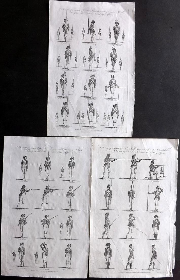 Hall, William 1791 Lot of 3 Military Prints. Musketeers