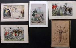 Satire 19th Cent Lot of 5 Hand Col and Original Art
