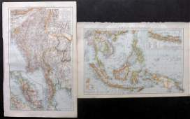 The Times 1895 Pair of Maps East Indies Asia