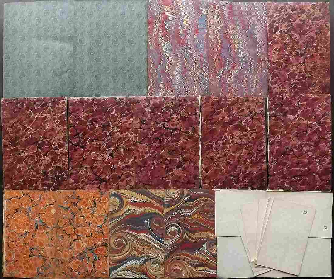 Marble End Papers, Bookbinding 19th Cent Lot of 24