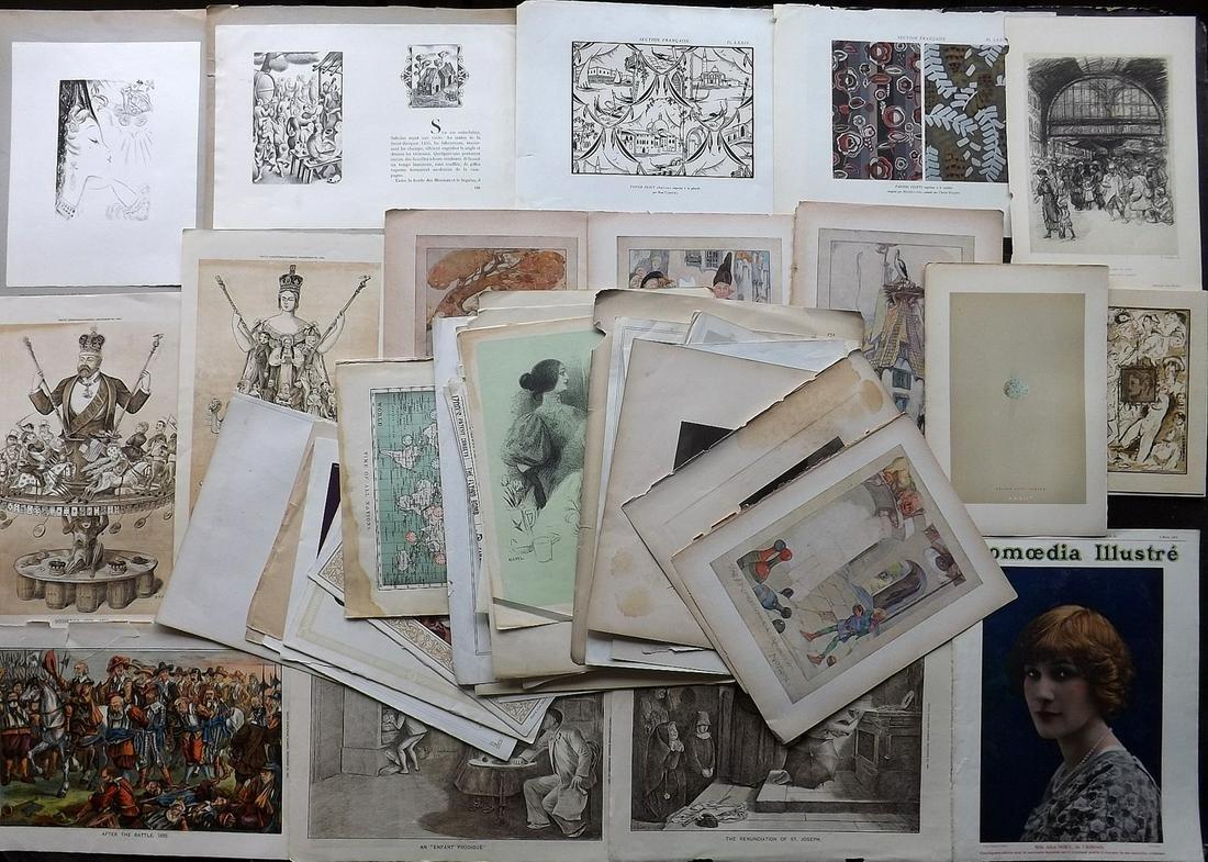 Mixed Prints, Maps & Adverts C1750-1940 Lot of 65