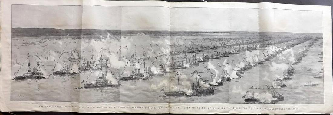 Ships Naval 1897 Very Large Panoramic Print. Spithead