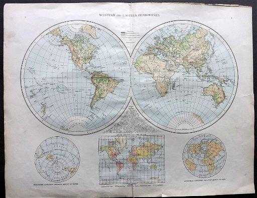 The Times 1895 Map of Western/Eastern Hemisphere