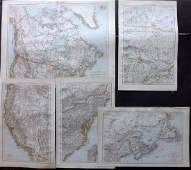 The Times 1895 Lot of 5 Maps USA  Canada