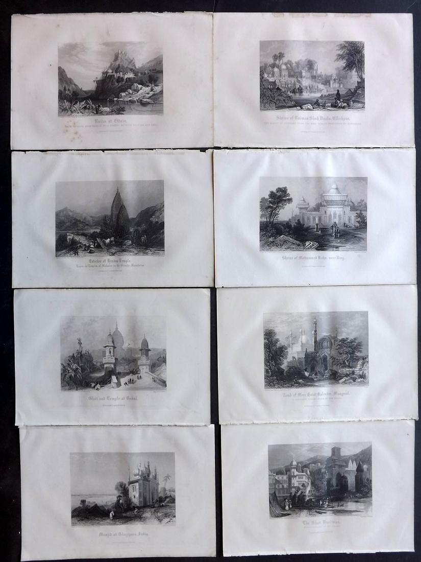India 1860 Lot of 8 Steel Engraved Views by Gardner