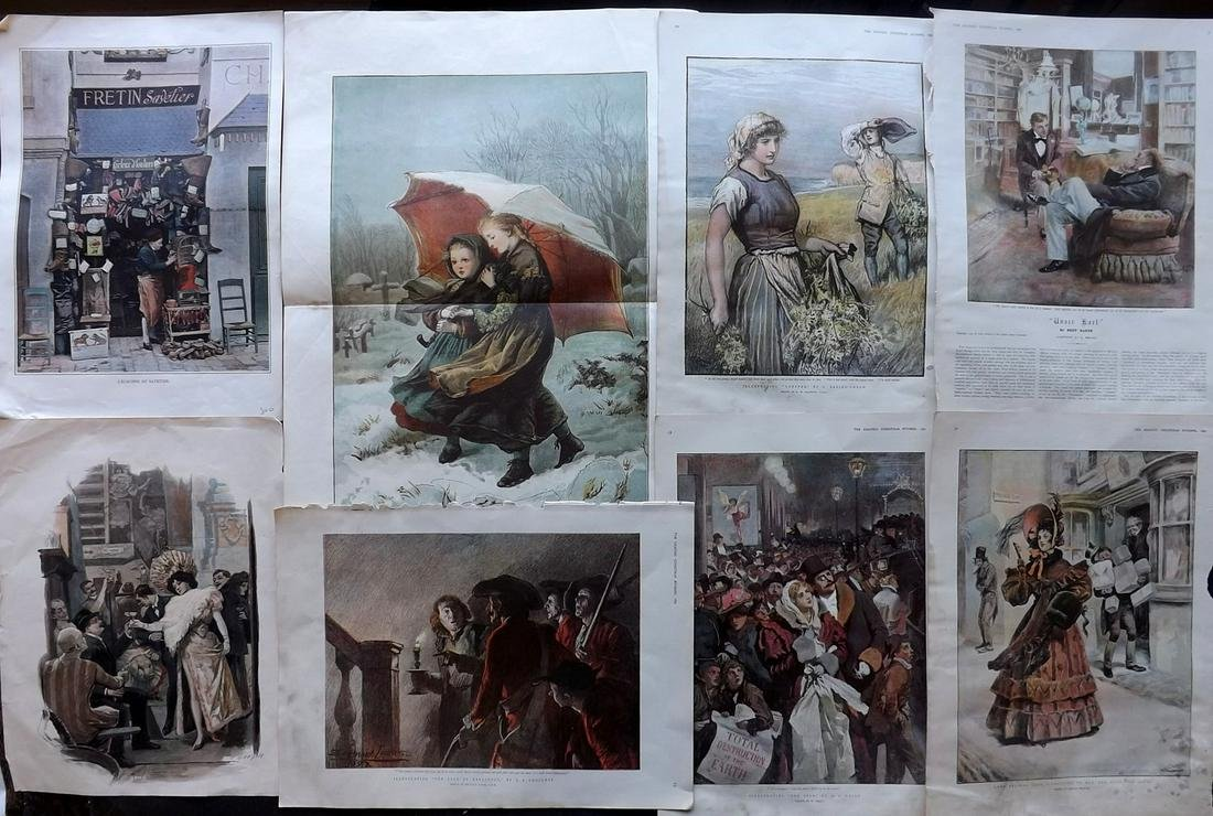 Misc Colour Plates 1879-1897 Lot of 8. The Graphic etc