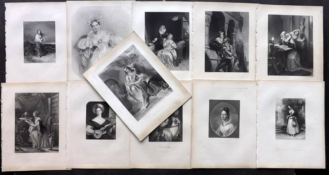 Pretty Ladies 1845 Lot of 13 Steel Engravings by Fisher
