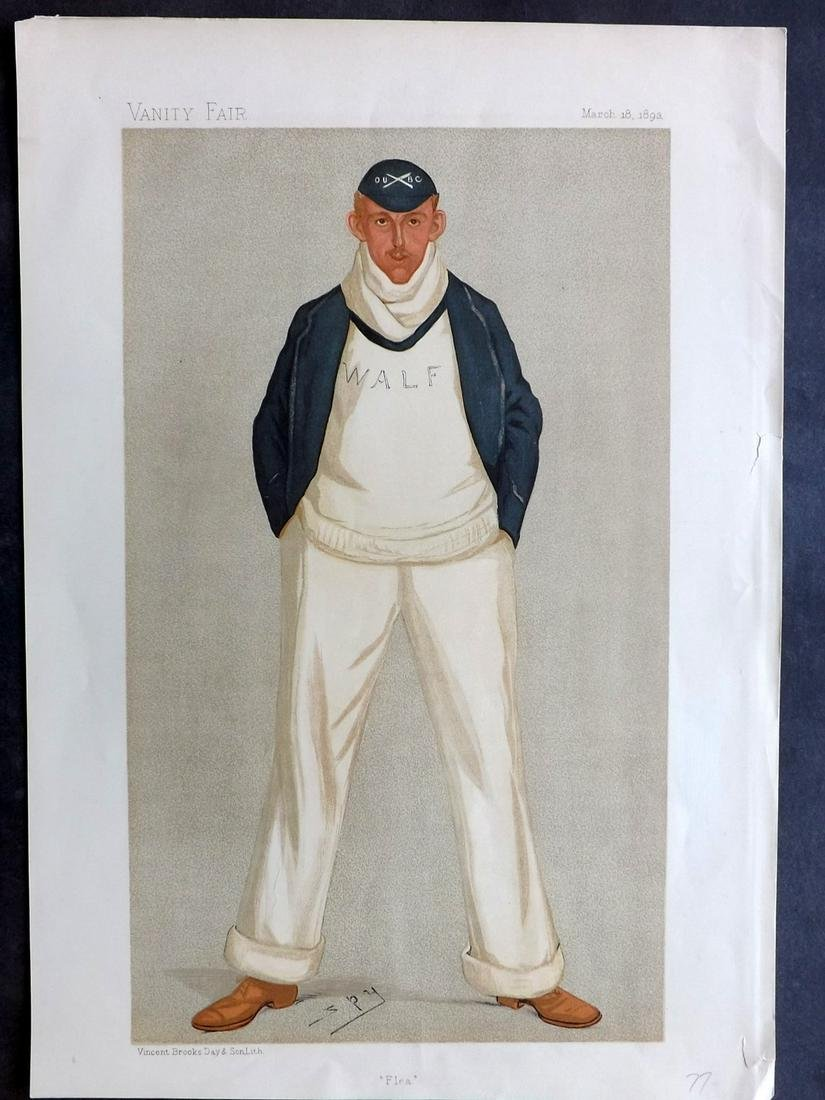 Vanity Fair Print 1893 W. A. L. Fletcher, Rowing