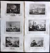 Tallis Pub 1854 Lot of 6 Naval Ship Prints